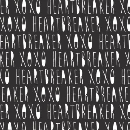 XOXO Black Handwritten XOXO yardage by Camelot Fabrics