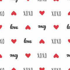 XOXO White Sweet Messages yardage by Camelot Fabrics