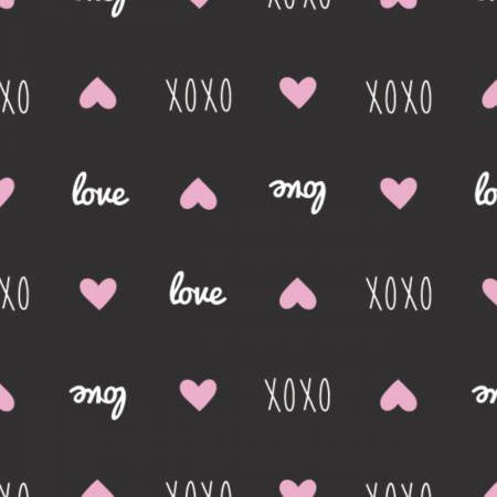 XOXO Black Sweet Messages yardage by Camelot Fabrics