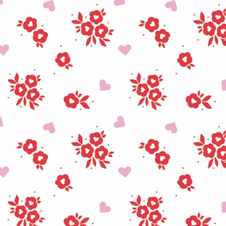 XOXO Red Floral Toss yardage by Camelot Fabrics