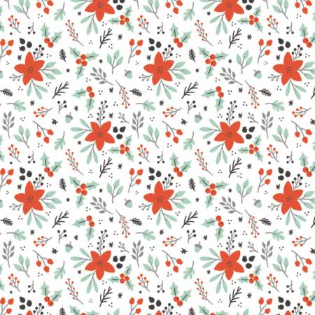 Reindeer Lodge White Winter Florals yardage by Camelot Fabrics
