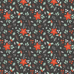 Reindeer Lodge Charcoal Winter Florals yardage by Camelot Fabrics