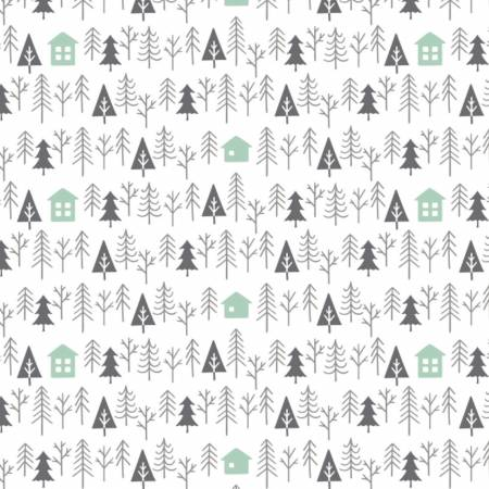 Reindeer Lodge White Cabin In The Woods yardage by Camelot Fabrics