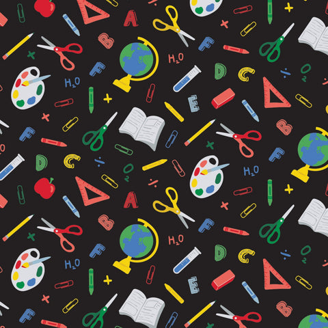 Teachers Rule Black Back to School yardage by Camelot Fabrics