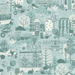 Clara's Garden Blue Garden Scene Yardage by Makower UK for Andover Fabrics
