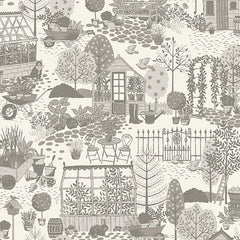 Clara's Garden Grey Garden Scene Yardage by Makower UK for Andover Fabrics