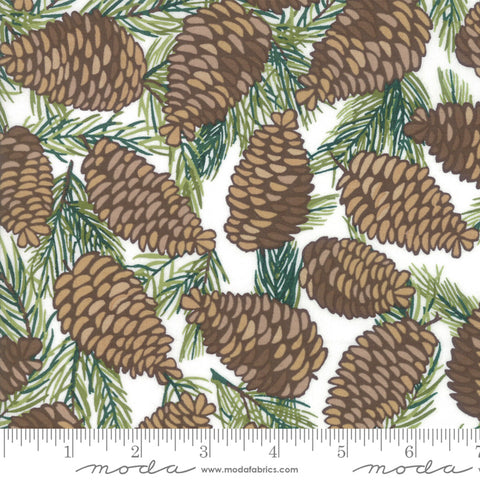 To Be Jolly Snowflake Pinecones Yardage by One Canoe Two for Moda Fabrics