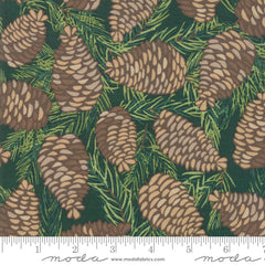 To Be Jolly Spruce Pinecones Yardage by One Canoe Two for Moda Fabrics