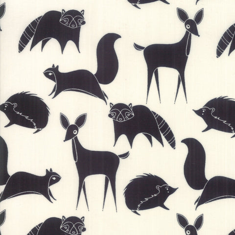 Bramble Black on Cream Forest Friends Yardage by Gingiber for Moda Fabrics