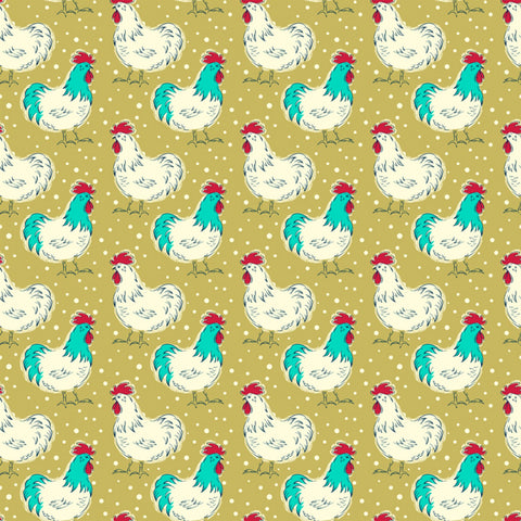 Homestead Life Happy Day Chicken Fancy Yardage by Judy Jarvi for Windham Fabrics
