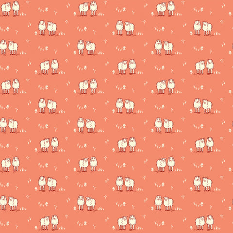 Homestead Life Coral Hey Ewe Yardage by Judy Jarvi for Windham Fabrics