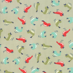 Early Bird Gray Vintage Birds Yardage by Bonnie & Camille for Moda Fabrics
