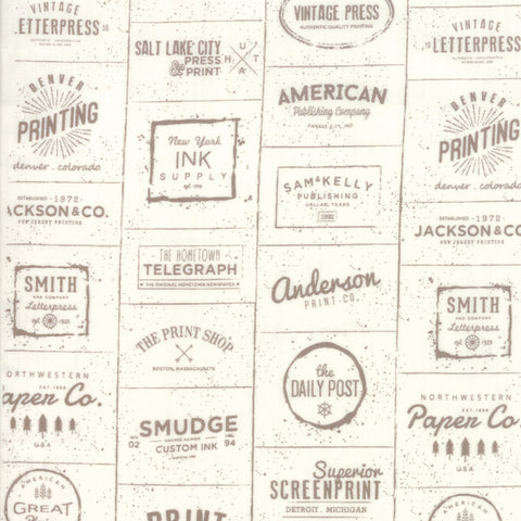 The Print Shop Cream Clay Modern Logos yardage by Sweetwater for Moda Fabrics
