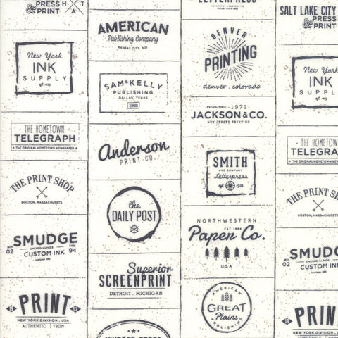 The Print Shop Cream Black Modern Logos yardage by Sweetwater for Moda Fabrics