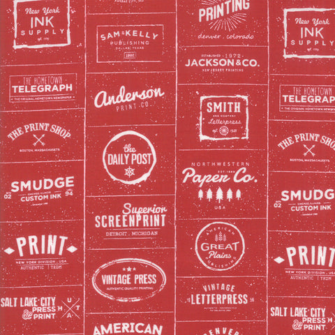 The Print Shop Red Modern Logos yardage by Sweetwater for Moda Fabrics