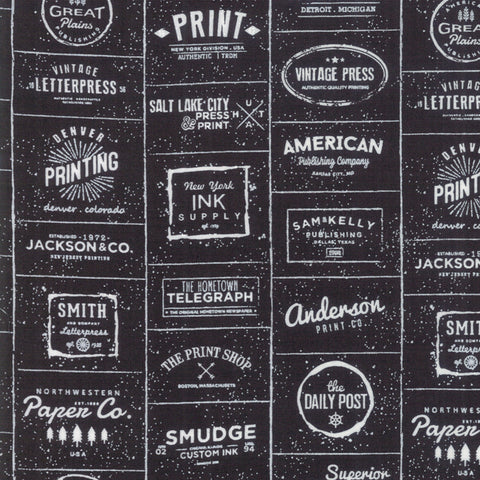 The Print Shop Black Modern Logos yardage by Sweetwater for Moda Fabrics