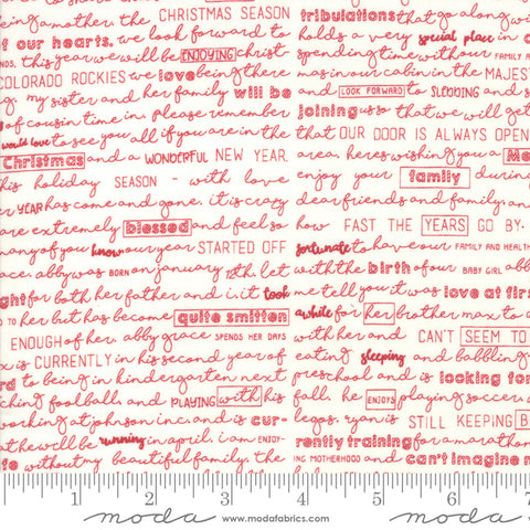 The Christmas Card Cream Red Christmas Letter Yardage by Sweetwater for Moda Fabrics