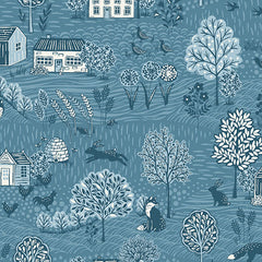 Grove By Andover Blue Grove Scenic Yardage by Makower UK for Andover Fabrics