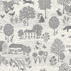 Grove By Andover Grey Cream Grove Scenic Yardage by Makower UK for Andover Fabrics
