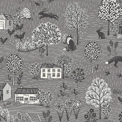 Grove By Andover Grey Grove Scenic Yardage by Makower UK for Andover Fabrics