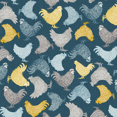 Grove By Andover Blue Chickens Yardage by Makower UK for Andover Fabrics