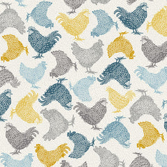 Grove By Andover Cream Chickens Yardage by Makower UK for Andover Fabrics