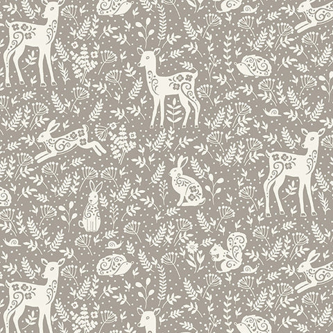 Clara's Garden Grey Animals Yardage by Makower UK for Andover Fabrics