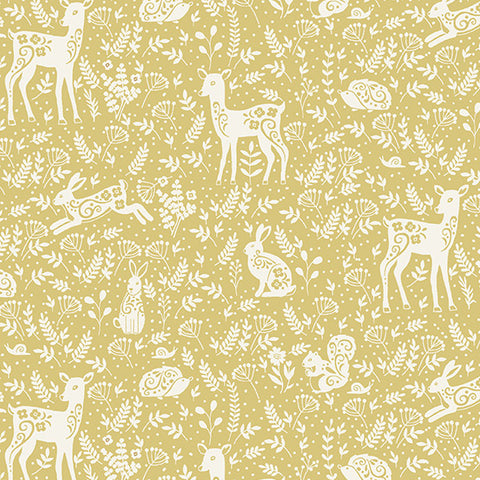 Clara's Garden Yellow Animals Yardage by Makower UK for Andover Fabrics