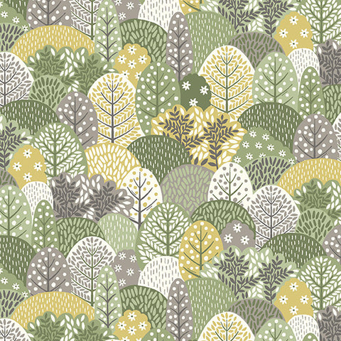 Clara's Garden Green Trees Yardage by Makower UK for Andover Fabrics