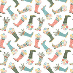 Wish For Rain White Rainboots yardage designed by Puck Selders for Camelot Fabrics