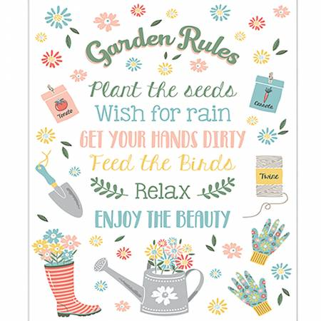 Wish For Rain White Garden Rules Panel designed by Puck Selders for Camelot Fabrics