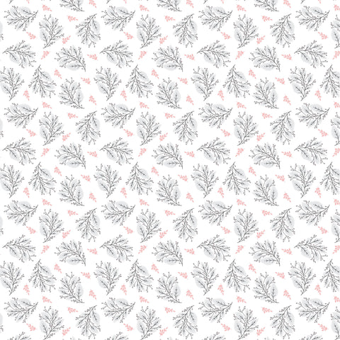 Cherished Moments White Berry Branches Yardage by Lori Woods for Poppie Cotton Fabrics
