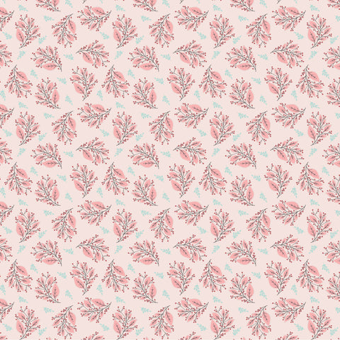 Cherished Moments Pink Berry Branches Yardage by Lori Woods for Poppie Cotton Fabrics