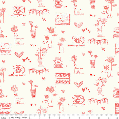 From The Heart Cream Main Yardage by Sandy Gervais for Riley Blake Designs