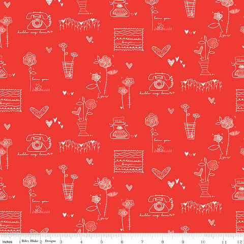 From The Heart Red Main Yardage by Sandy Gervais for Riley Blake Designs