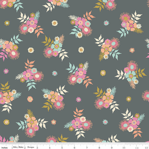 Meadow Lane Gray Posies Yardage by Sara Davies for Riley Blake Designs