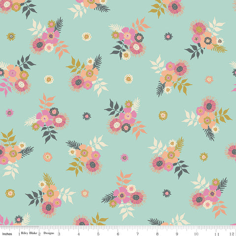 Meadow Lane Mint Posies Yardage by Sara Davies for Riley Blake Designs
