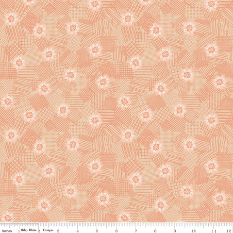 Meadow Lane Melon Scribbled Floral Yardage by Sara Davies for Riley Blake Designs