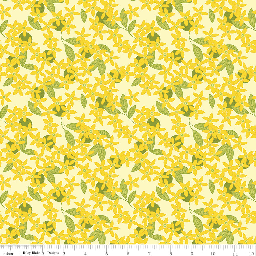 Grove Lemonade Blossoms Yardage by Jill Finley for Riley Blake Designs