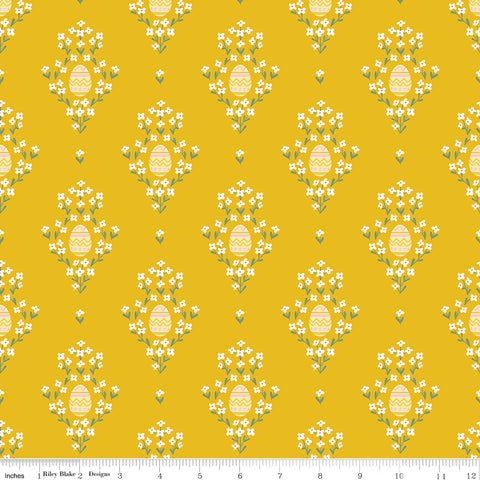 Easter Egg Hunt Mustard Eggs Yardage by Natalia Juan Abello for Riley Blake Designs