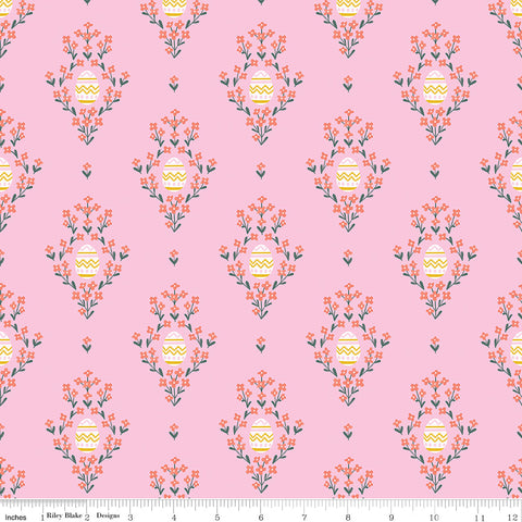 Easter Egg Hunt Pink Eggs Yardage by Natalia Juan Abello for Riley Blake Designs