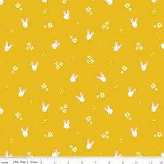 Easter Egg Hunt Mustard Bunnies Yardage by Natalia Juan Abello for Riley Blake Designs