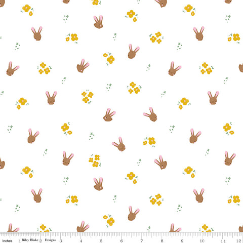 Easter Egg Hunt White Bunnies Yardage by Natalia Juan Abello for Riley Blake Designs