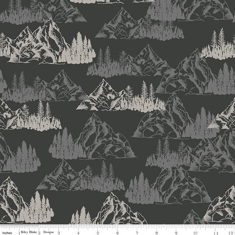 Timberland Charcoal Mountains Yardage by Riley Blake Designs