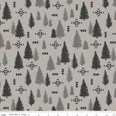 Timberland Light Gray Trees Yardage by Riley Blake Designs