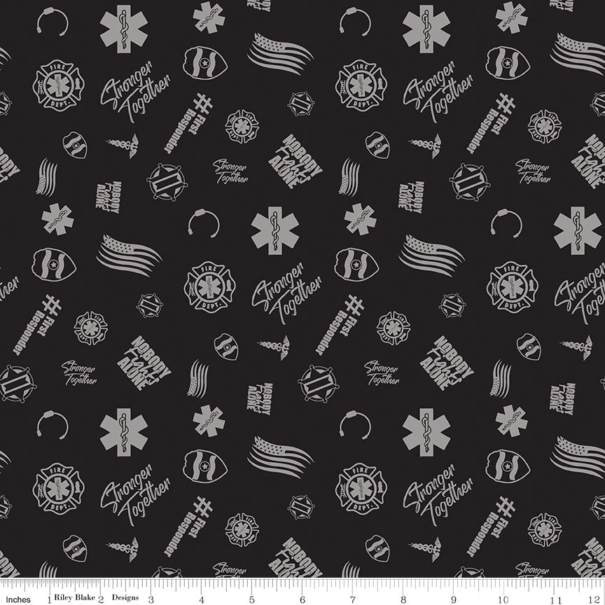 Nobody Fights Alone Black Tossed Yardage by Riley Blake Designs