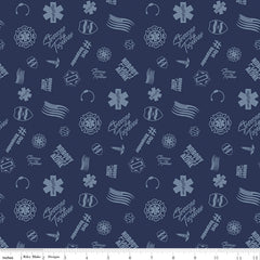 Nobody Fights Alone Navy Tossed Yardage by Riley Blake Designs