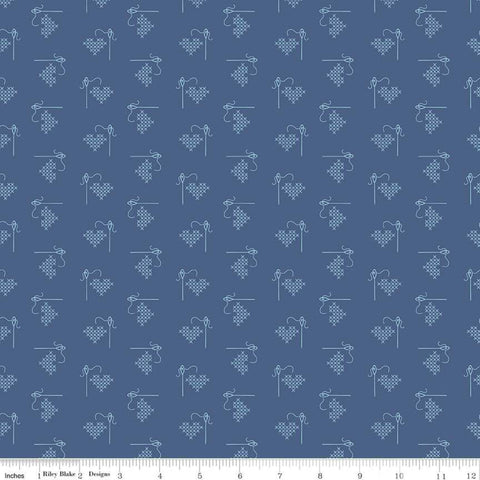Bee Basics Blue Heart Yardage by Lori Holt for Riley Blake Designs