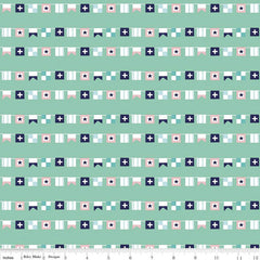 Seaside Aqua Flags Yardage by Tasha Noel for Riley Blake
