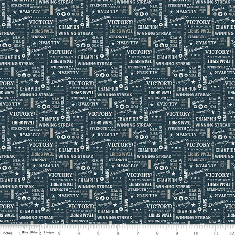 Varsity Navy Text Yardage by Deena Rutter for Riley Blake